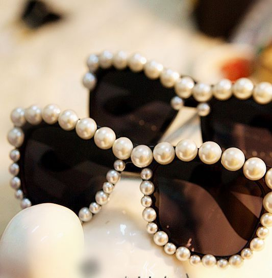 Free-shipping-big-pearl-handmade-sunglasses-glasses 39 Most Stylish Gold and Diamond Sunglasses in 2019