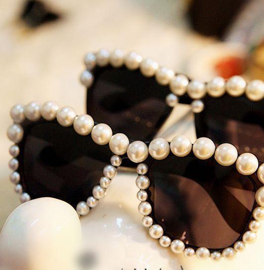 Free-shipping-big-pearl-handmade-sunglasses-glasses 39 Most Stylish Gold and Diamond Sunglasses in 2021