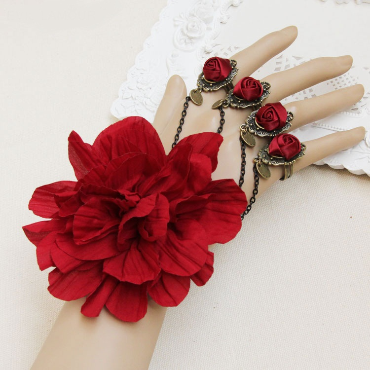 Free-shipping-classic-bracelets-for-women-lace-red-rose-hand-chain-ring-bracelet-bronze-chain-jewelry 65 Hottest Hand Back Jewelry Pieces for 2020