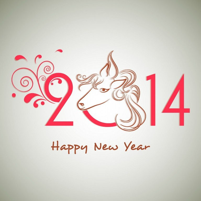 Happy-New-Year-2014-floral-decorated-pink-text 45+ Latest & Most Gorgeous Greeting Cards for a Happy New Year