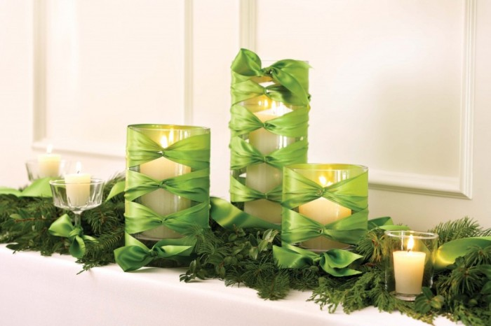 Ideas-Simple-Easy-And-Inexpensive-New-Years-Eve-Decoration-Ideas-With-White-Candle-On-Cool-Green-Ribbon-Wrapped-Glass-Vase-Wonderful-New-Years-Eve-Decoration-Ideas Awesome & Breathtaking Ideas for New Year's Holiday Decorations