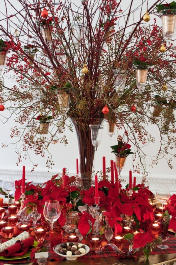 Poinsettia-Christmas-Table-by-Paula-Pryke-Flowerona-6 65+ Dazzling Christmas Decorating Ideas for Your Home in 2019