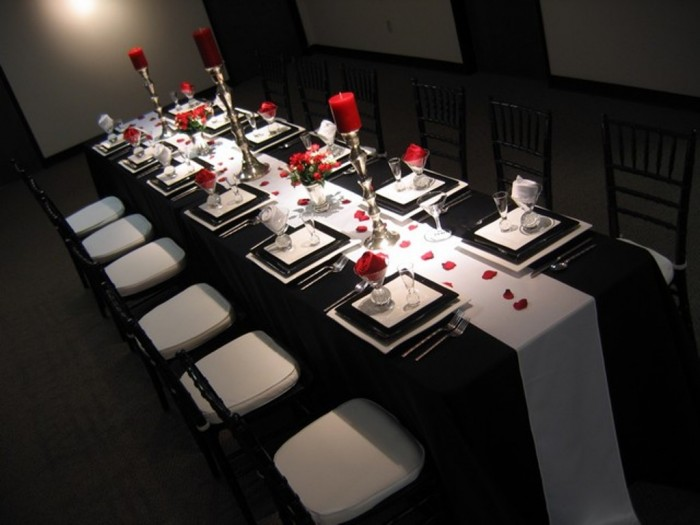 Table decoration ideas black and white - Decoration table noir et blanc ...