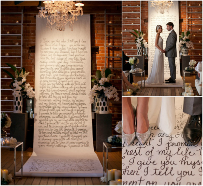 Vows+on+canvas+and+aisle+runner Write Your Wedding Vows on Your Own to Be More Personal & Romantic