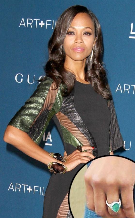 Zoe-Saldana. 35+ Fascinating & Stunning Celebrities Engagement Rings for 2020