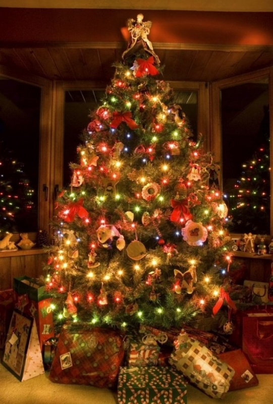 colorful-pre-lit-christmas-tree-decoration-with-bows-idea-720x1082-634x952 79 Amazing Christmas Tree Decorations