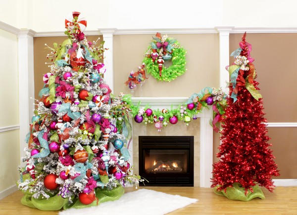 cool-design-ideas-cool-festive-colorful-christmas-trees-and-fireplace-mantel-living-room-unique-holiday-decorations-holy-colorful-christmas-tree-decorations 79 Amazing Christmas Tree Decorations