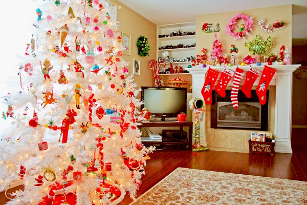 cool-design-ideas-cute-white-winter-christmas-tree-decorated-with-colorful-beautiful-kids-toys-candy-canes-ice-creams-and-cool-christmas-ornaments-holy-colorful-christmas-tree-decorations 79 Amazing Christmas Tree Decorations