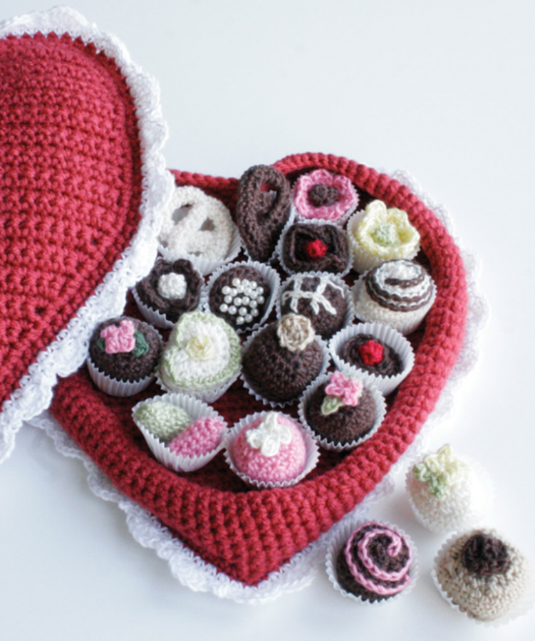 crochet_box_of_chocolates_red_heart_yarn Stunning Crochet Patterns To Decorate Your Home & Make Accessories