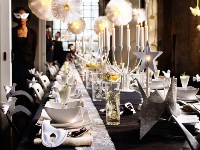 dining-room-designs-gorgeous-white-christmas-and-new-year-home-family-in-elegant-masquerade-party-theme-with-beautiful-unique-birds-origami-and-stars-dining-table-decoration-sweet-christmas-dinner-t 65+ Dazzling Christmas Decorating Ideas for Your Home in 2019