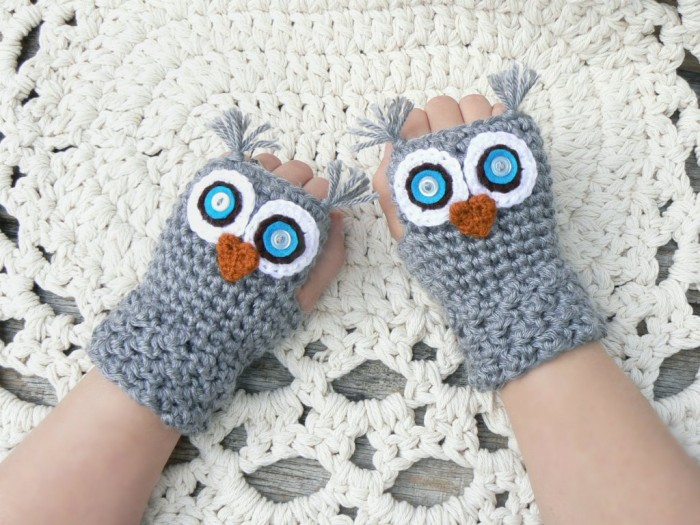 gray-fingerless-crochet-owl-mittens 10 Fascinating Ideas to Create Crochet Patterns on Your Own