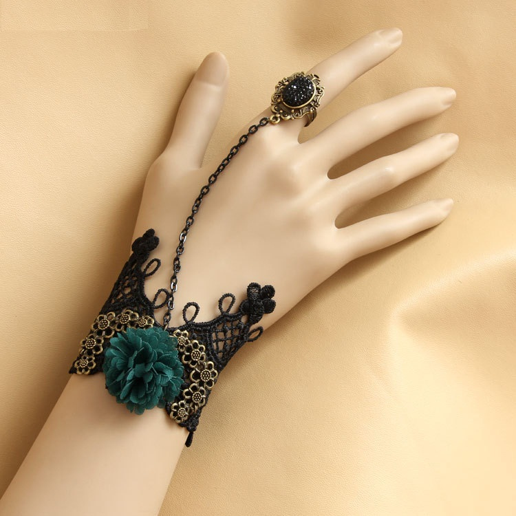 hand-bracelet-ring-green-flower-gothic-vintage-lace-fashion-accessories-his-and-her-bracelets-rings-jewelry 65 Hand Back Jewelry Pieces for 2018