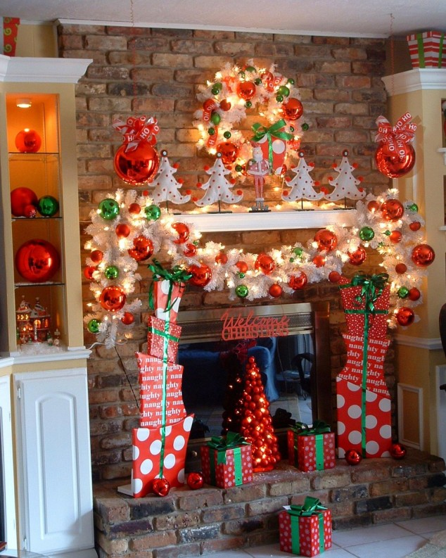 other-design-simple-christmas-decorating-themes-with-red-and-white-colors-at-fireplace-also-white-cabinet-inspiring-wonderful-christmas-decorating-themes-ideas-945x1182-634x793 79 Amazing Christmas Tree Decorations