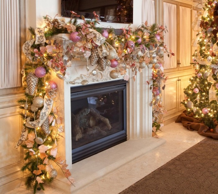 romantic-christmas-mantel-decorations 65+ Dazzling Christmas Decorating Ideas for Your Home in 2019