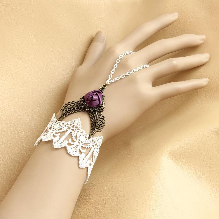 vintage-bracelet-Gothic-lace-lolita-Lace-bracelet-ring-one-piece-chain-bride-bridesmaid-accessories 65 Hottest Hand Back Jewelry Pieces for 2020