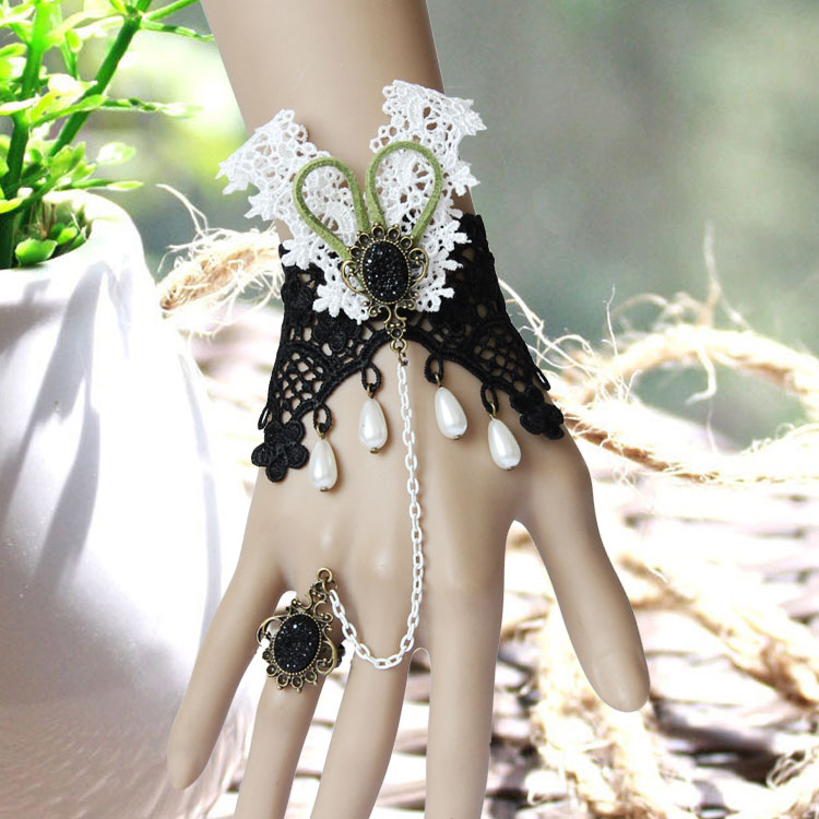 vintage-bracelet-Rabbit-lady-fashion-vintage-wrist-length-prom-accessories-bracelet-with-ring-one-piece-chain 65 Hottest Hand Back Jewelry Pieces for 2020