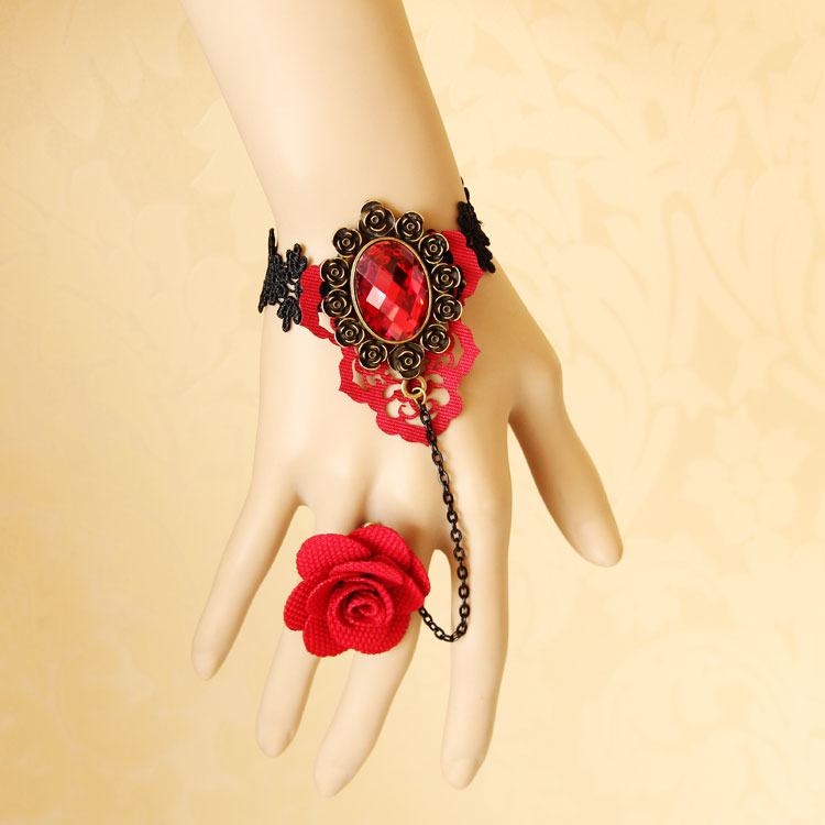 vintage-bracelet-Red-bridal-accessories-vintage-wrist-length-accessories-bracelet-with-ring-one-piece-chain-female 65 Hottest Hand Back Jewelry Pieces for 2020