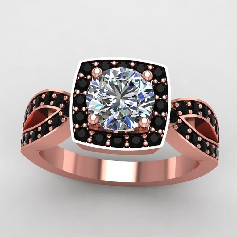 1-14k-rose-gold-black-diamond-ring-with-moissanite-center-stone-eternity-collection 50 Non-Traditional Black Diamond Rose Gold Engagement Rings