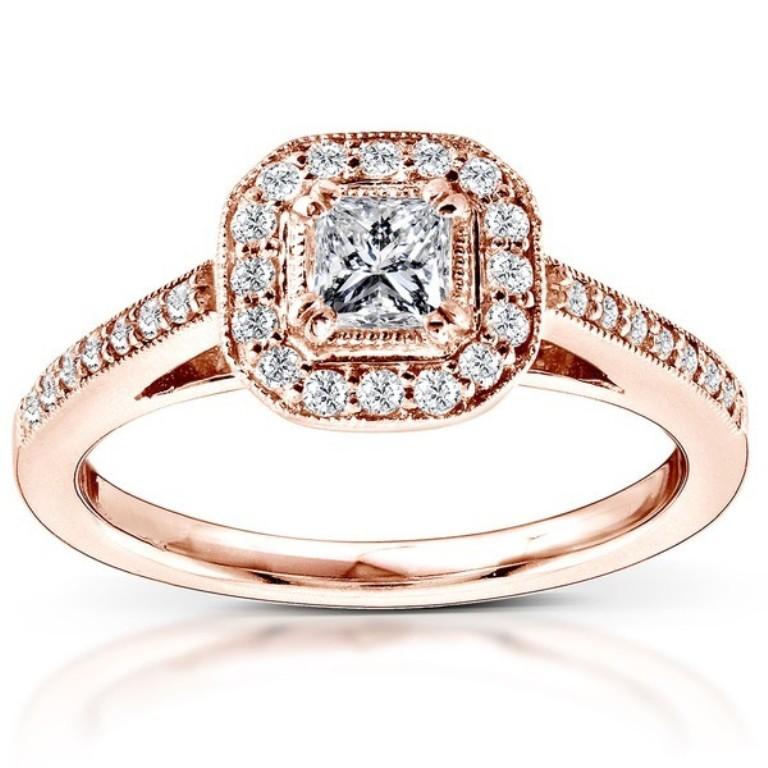1-carat-princess-halo-diamond-engagement-ring-in-14k-rose-gold Top 70 Dazzling & Breathtaking Rose Gold Engagement Rings