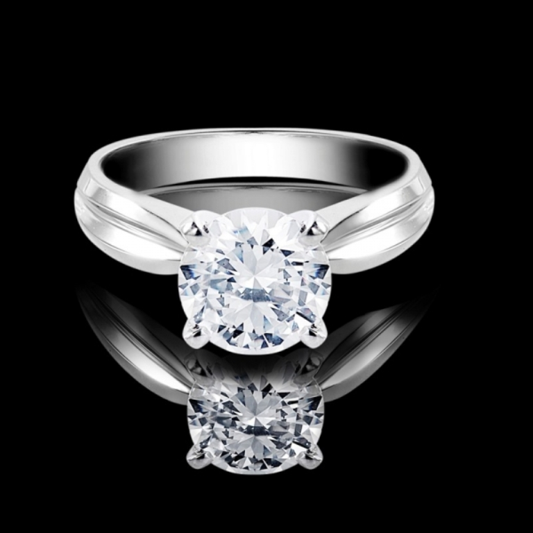 1-ctw-tapered-shank-solitaire-diamond-engagement-ring-in-14k-white-gold 35 Fascinating & Stunning Round Solitaire Engagement Rings