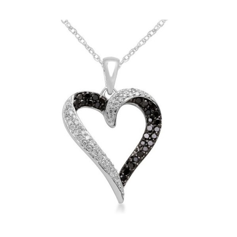 10k-white-gold-black-and-white-diamond-heart-pendant-necklace-1-3-cttw 50 Unique Diamond Necklaces & Pendants