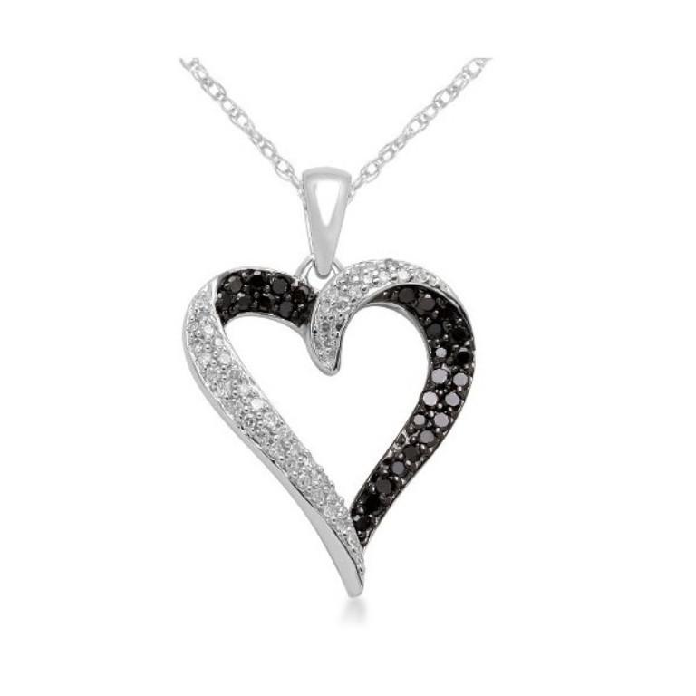 10k-white-gold-black-and-white-diamond-heart-pendant-necklace-1-3-cttw 50 Unique Diamond Necklaces & Pendants