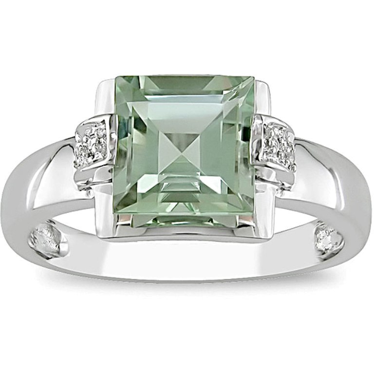 10k-white-gold-green-amethyst-and-diamond-ring 30 Fascinating & Dazzling Green diamond rings