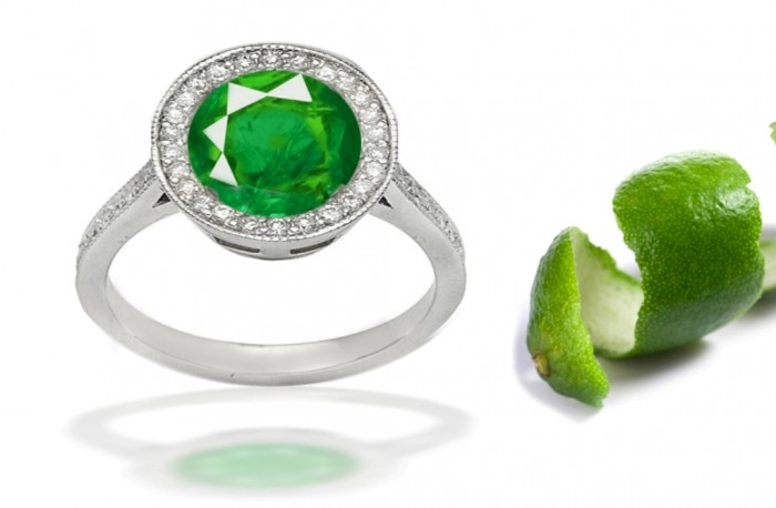 10twisted-shank-pave-set-diamonds-center-emerald-colored-gemstone-rings 60 Magnificent & Breathtaking Colored Stone Engagement Rings