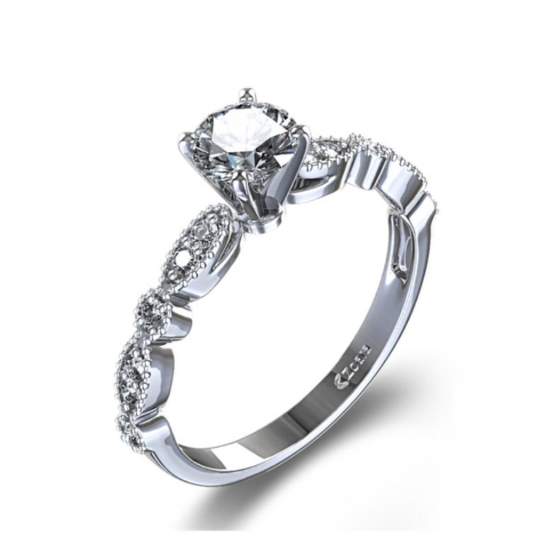 1141301_vintage_scalloped_diamond_engagement_ring_angle 50 Unique Vintage Classic Diamond Engagement Rings