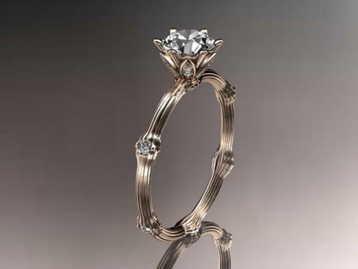 14k-rose-gold-diamond-vine-and-leaf-wedding-ring-engagement-ring Top 70 Dazzling & Breathtaking Rose Gold Engagement Rings