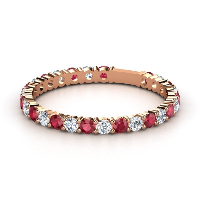 14k-rose-gold-ring-with-ruby-diamond Top 60 Stunning & Marvelous Rose Gold Wedding Bands