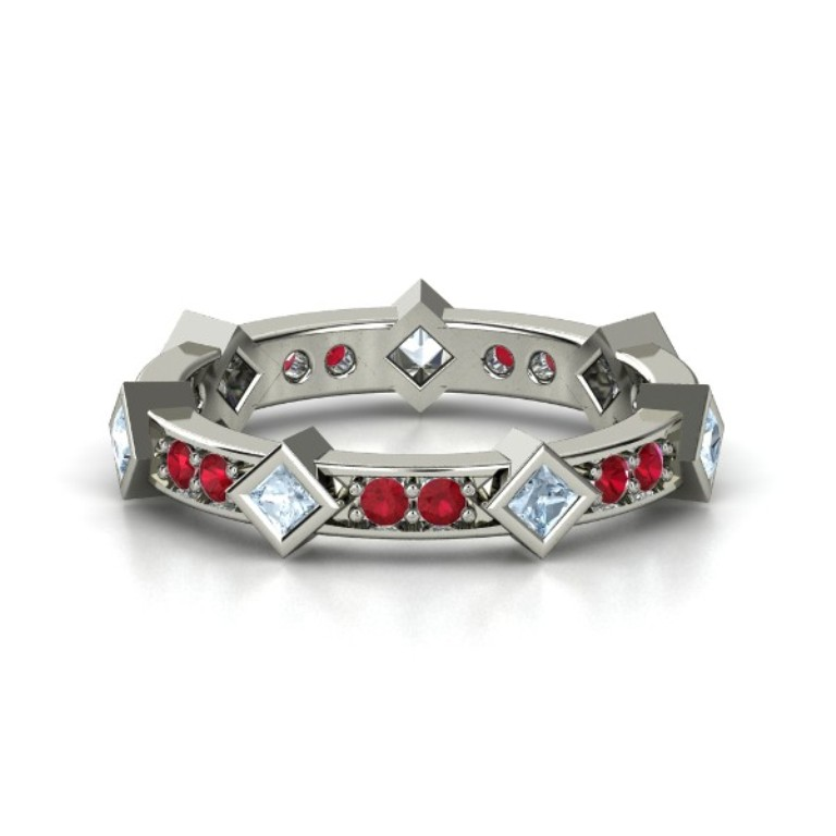 14k-white-gold-ring-with-aquamarine-ruby 55 Fascinating & Marvelous Ruby Eternity Rings
