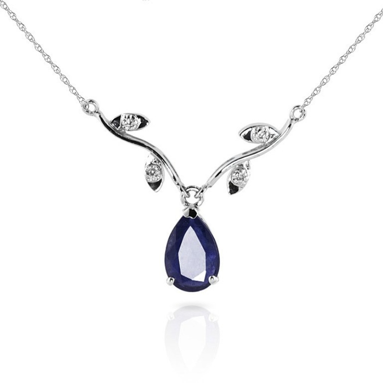 14k-white-gold-vine-ripe-necklace-with-diamond-and-sapphire-pendant-2406wa 50 Unique Diamond Necklaces & Pendants