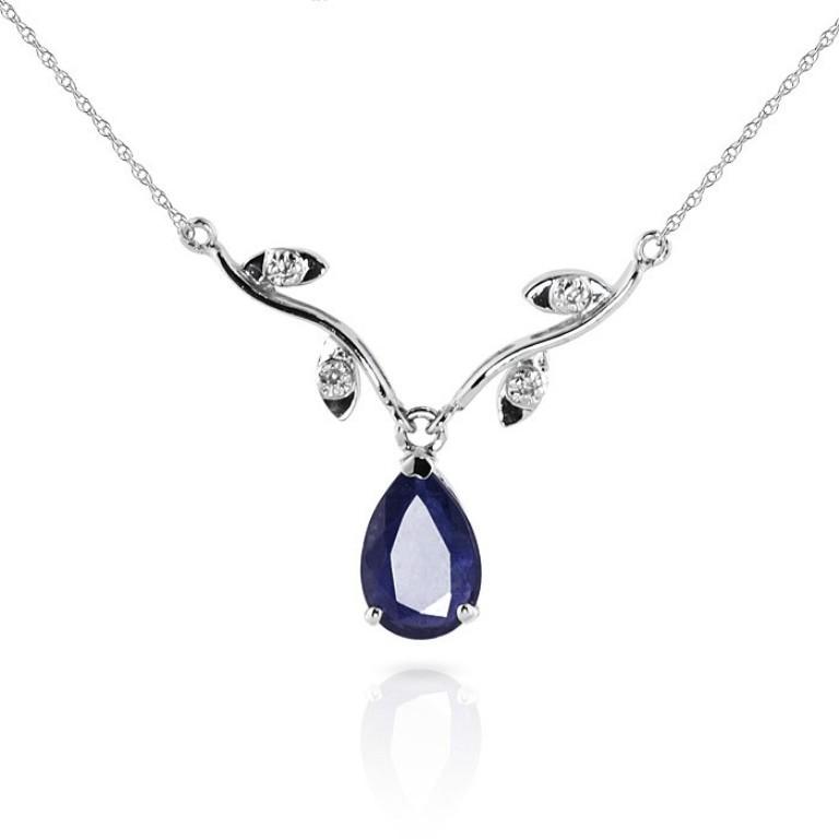 14k-white-gold-vine-ripe-necklace-with-diamond-and-sapphire-pendant-2406wa 50 Unique Diamond Necklaces & Pendants