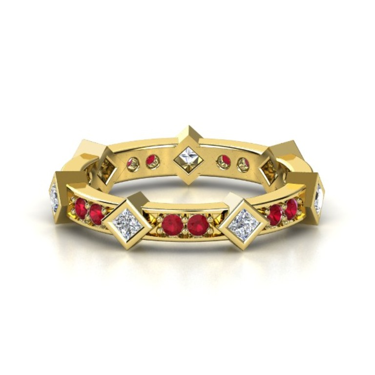 14k-yellow-gold-ring-with-diamond-ruby 55 Fascinating & Marvelous Ruby Eternity Rings