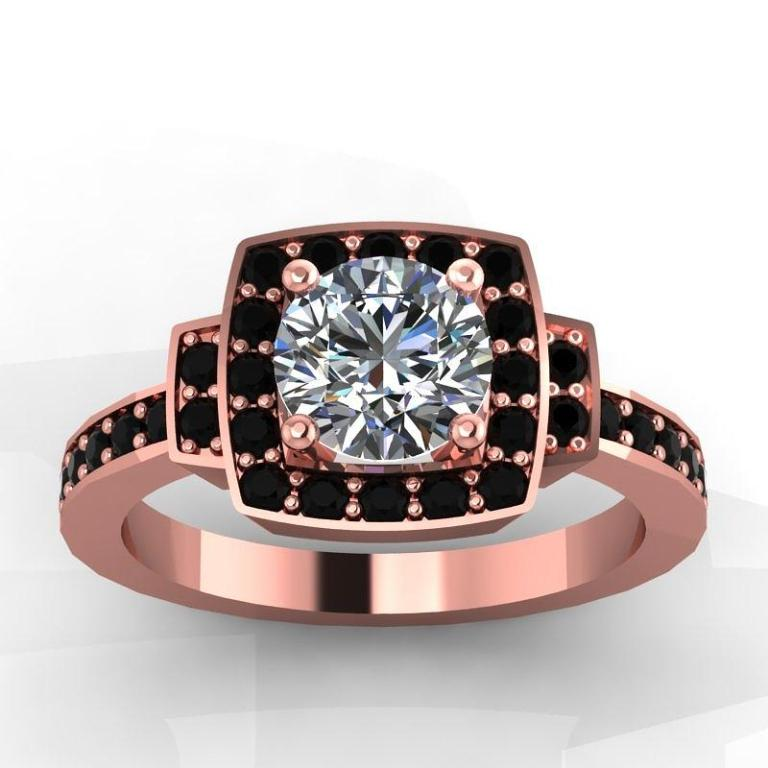 2-14k-rose-gold-black-diamond-ring-with-moissanite-center-stone-eternity-collection 50 Non-Traditional Black Diamond Rose Gold Engagement Rings