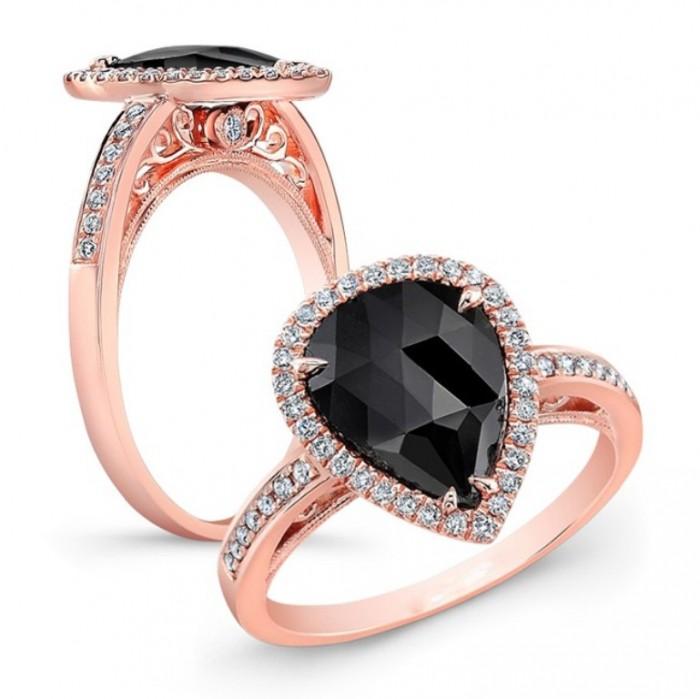 26176bkrc-r-1 50 Non-Traditional Black Diamond Rose Gold Engagement Rings