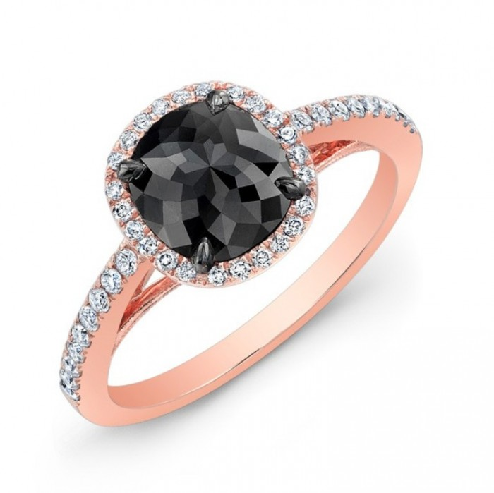 28470bkrc-r_three_qrtr_1 50 Non-Traditional Black Diamond Rose Gold Engagement Rings