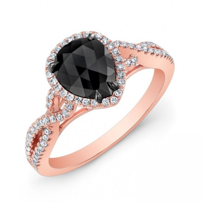 28471bkrc-r_three_qrtr 50 Non-Traditional Black Diamond Rose Gold Engagement Rings