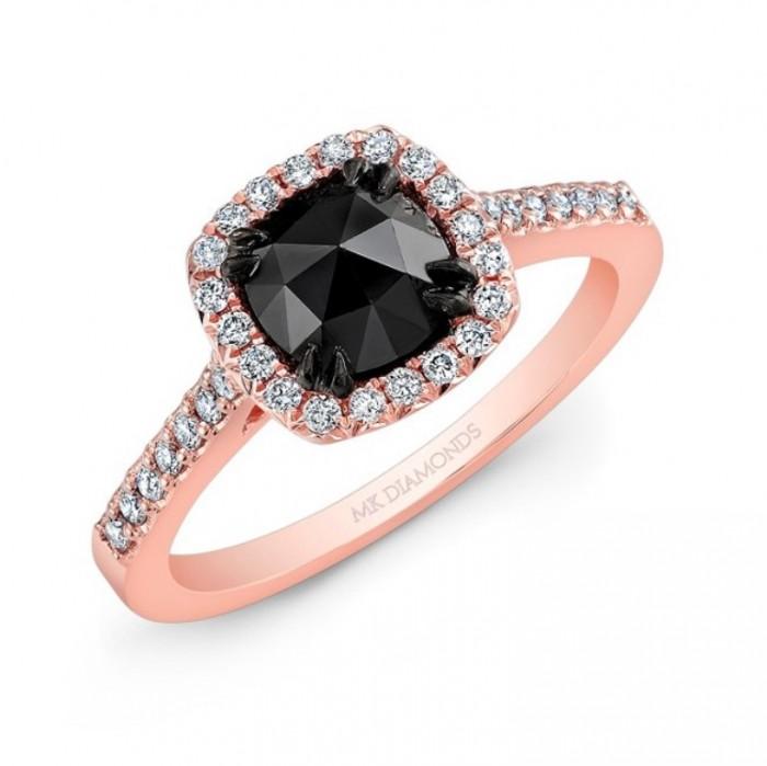 28614bkrc-rb_three_qrtr 50 Non-Traditional Black Diamond Rose Gold Engagement Rings