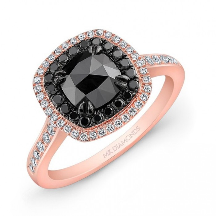 28617bkrc-wb_three_qrtr 50 Non-Traditional Black Diamond Rose Gold Engagement Rings