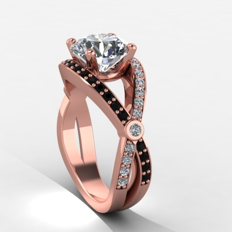 2rgdblly-1_1 50 Non-Traditional Black Diamond Rose Gold Engagement Rings