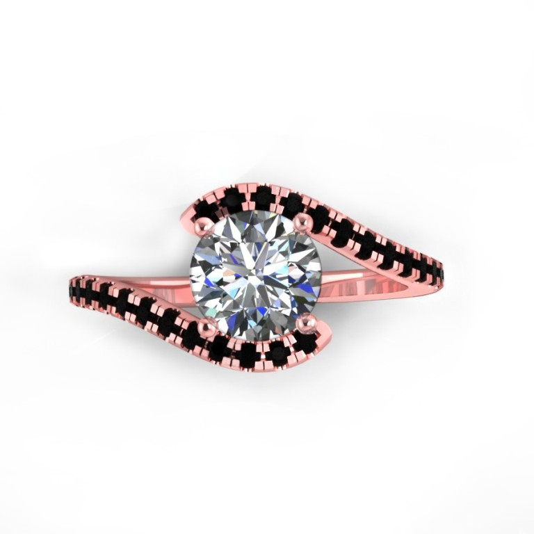 40rgbl-1 50 Non-Traditional Black Diamond Rose Gold Engagement Rings