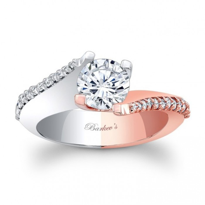 7928ltw_white_and_rose_gold_engagement_ring1 Top 70 Dazzling & Breathtaking Rose Gold Engagement Rings