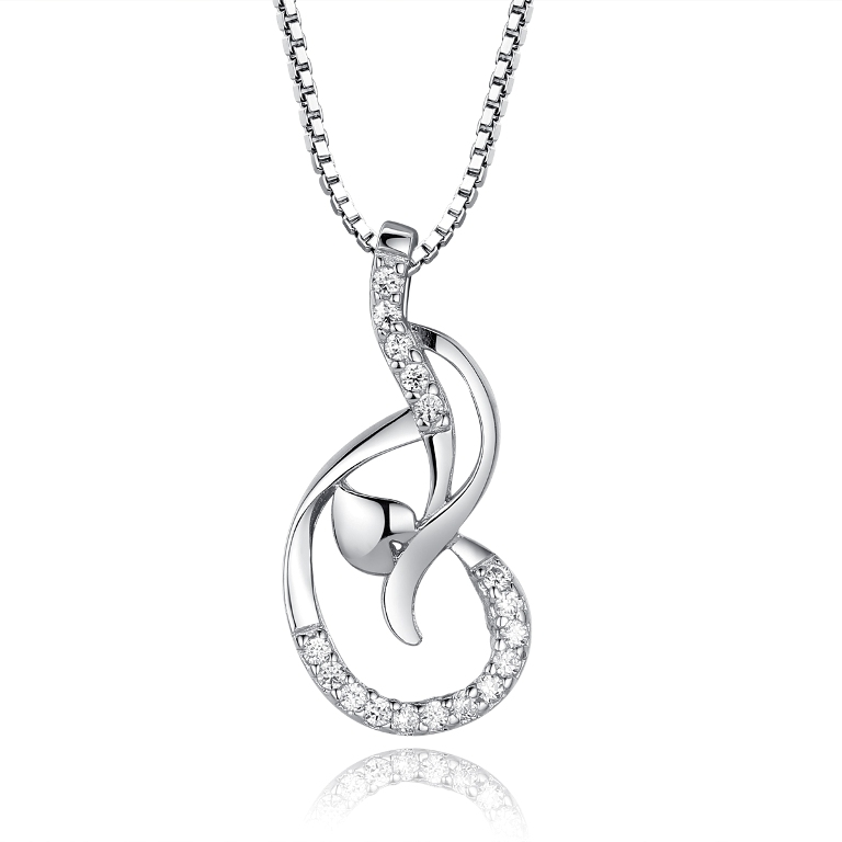925-Sterling-Silver-Paved-Diamond-Dance-Notes-Circled-Love-Heart-Pendant-Necklace-18inch-Silver-Singapore-Chain-with-Spring-Ring-Clasp-Closure-1_original 50 Unique Diamond Necklaces & Pendants