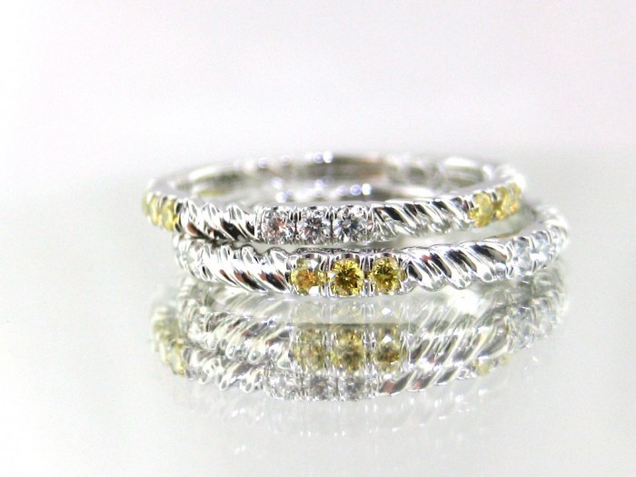 93596_josh-levkoff-white-yellow-diamond-twist-wedding-rings-1384545392-749 60 Breathtaking & Marvelous Diamond Wedding bands for Him & Her