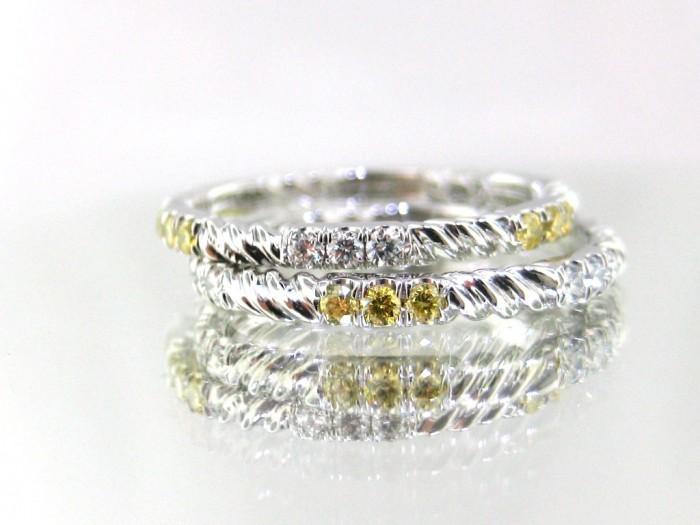 93596_josh-levkoff-white-yellow-diamond-twist-wedding-rings-1384545392-749 60 Breathtaking & Marvelous Diamond Wedding bands for Him & Her