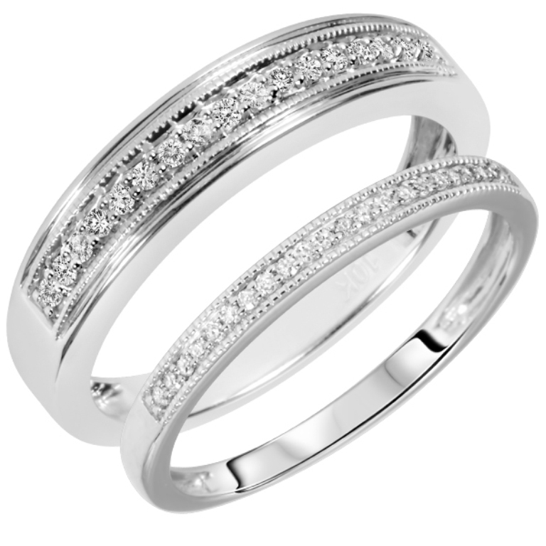 98097_my-trio-rings-14-carat-tw-round-cut-diamond-his-and-hers-wedding-band-set-10k-white-gold-1381978837-172 60 Breathtaking & Marvelous Diamond Wedding bands for Him & Her
