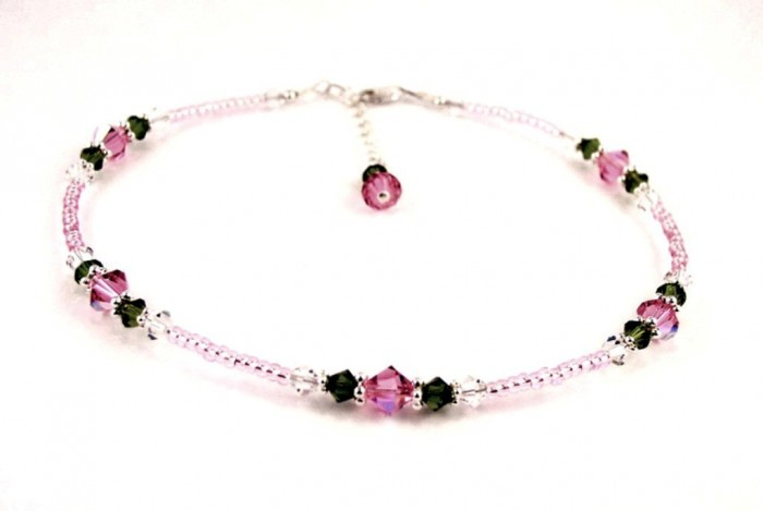 ANK-GAR100_pink_rose_garden_beaded_anklet 65 Fabulous & Stunning Handmade Beaded Gemstone Jewelries