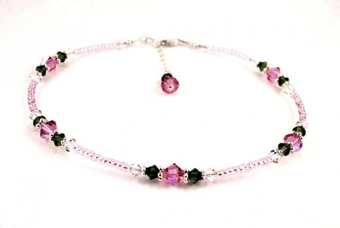 ANK-GAR100_pink_rose_garden_beaded_anklet 65 Fabulous & Stunning Handmade Beaded Gemstone Jewelries